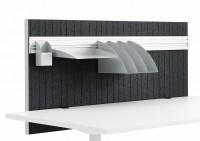 posuďte  zda skutečně využijete  praktickou lištu pro závěsné příslušenství. Vnitřek  stěny je vyplněn speciálním materiálem absorbujícím zvuk. Dodatečné závěsné kovové příslušenství zakrývá účinnou tlumicí plochu !