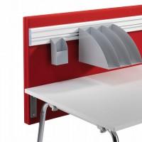 Na funkční lištu lze zavěsit různá příslušenství pro prostor stolu jako jsou: police, držák per, držák monitoru včetně plynového tlumiče.