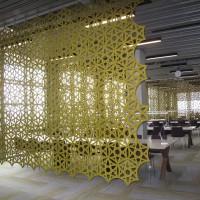 Airflake lze použít mnoha způsoby. Vytvoří průhledné místnosti v místnosti a rozptýlí nepříjemné odrazy zvuku