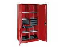 Dílenská skříň s křídlovými dveřmi a zásuvkami s plným vysunutím. Zamykání klasickým cylindrickým zámkem, nebo kódovaným číselníkem.