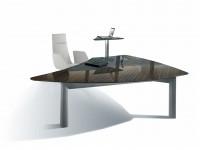 Stůl je vytvořen výhradně z prvotřídních materiálů. Přírodní dýha ze skutečného dřeva vykonává službu stejně dobře jako elegantní hliníková nosná část stolu, obdobně jako skříně z jakostní oceli. Vysoce lesklý povrch zdůrazňuje vynikající charakter dýhy