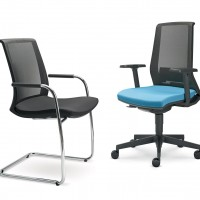 Otočnou kancelářskou židli lze doplnit o  přísedící modely navazující designově na otočné modely. Získáte vyvážený a zajímavě provázaný jednotný design kanceláře.