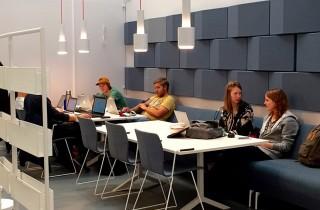 Například v technické univerzitě architekt zakomponoval nástěnné akustické moduly TRILINE, aby snižovaly ozvěnu a zpříjemňovali pobyt studentů v odpočinkové části kampusu