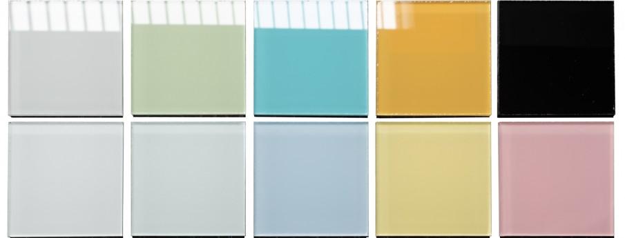 Barevný vzorník skleněných tabulí
